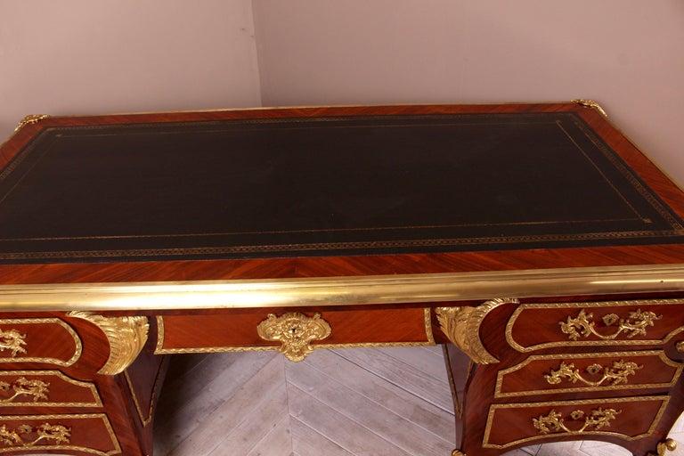 French Kingwood and Ormolu Bureau Plat Late 19th Century by Au Gros Chene, Paris For Sale 2