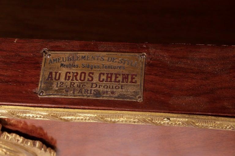 French Kingwood and Ormolu Bureau Plat Late 19th Century by Au Gros Chene, Paris For Sale 4