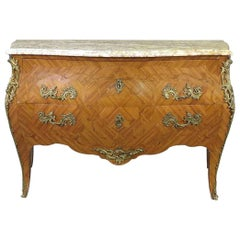 French Kingwood Louis XV Marble Top Commode with Bronze Ormolu