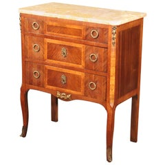 French Kingwood Louis XV Marble-Top Nightstand Commode Side Table, circa 1920