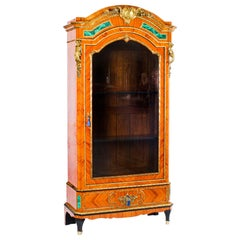 French Kingwood Malachite and Ormolu Mounted Vitrine Cabinet, 19th Century