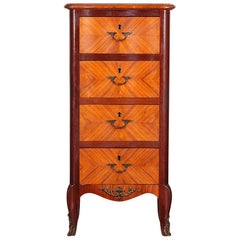 French Kingwood Narrow Chest Commode Nightstand