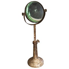 French Laboratory Magnifying Glass on Cast Iron Adjustable Stand