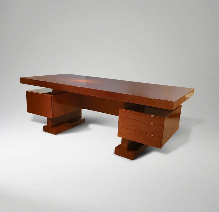 French Lacquer Desk by Pierre Cardin For Sale 1