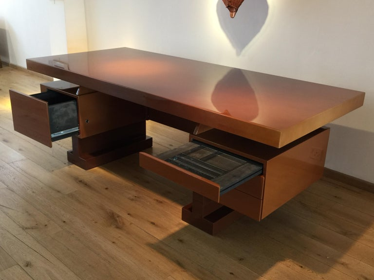 French Lacquer Desk by Pierre Cardin For Sale 2