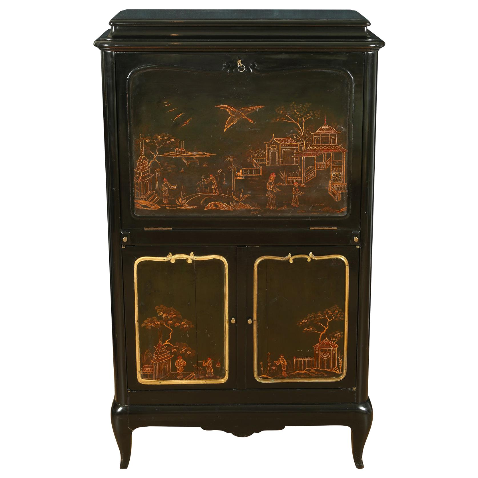 French Lacquered Chinoiserie Secretary