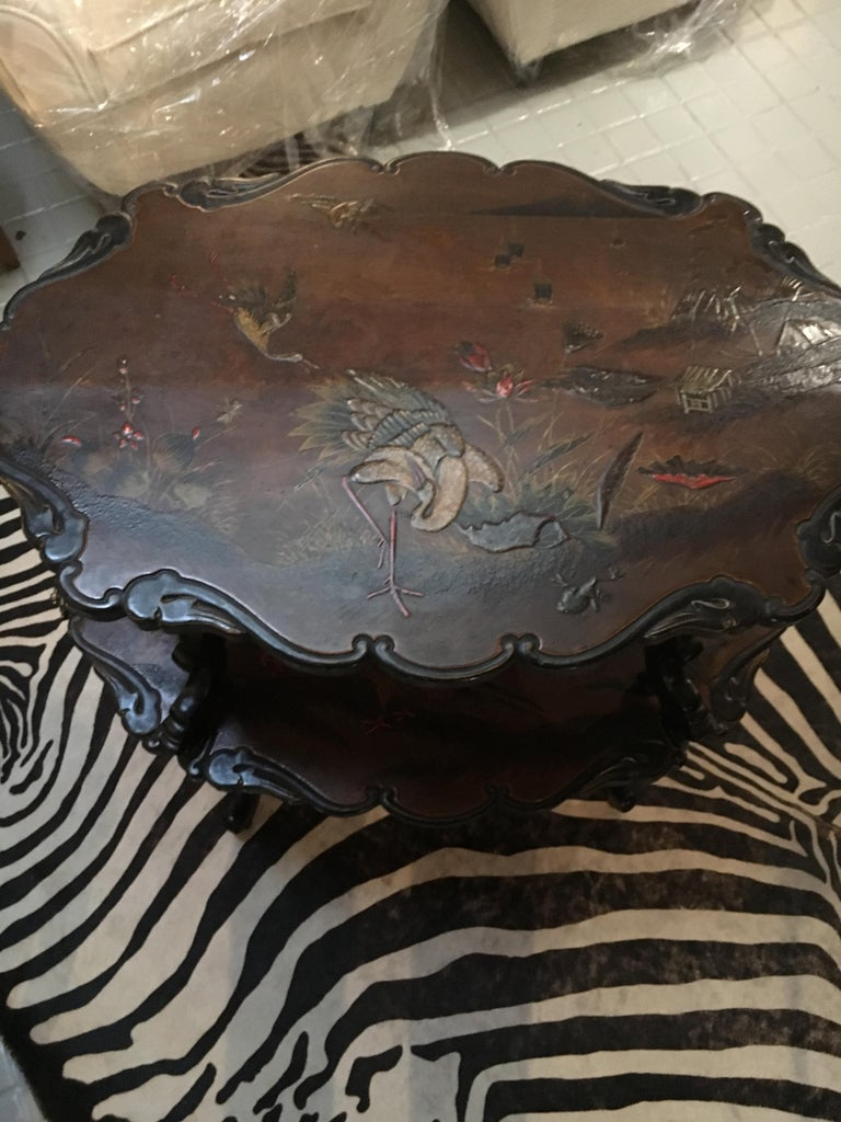 French Lacquered Two-Tier Table, circa 1880 In Good Condition For Sale In Saint-Ouen, FR