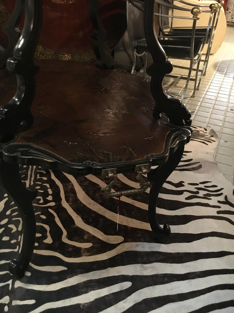 Late 19th Century French Lacquered Two-Tier Table, circa 1880 For Sale
