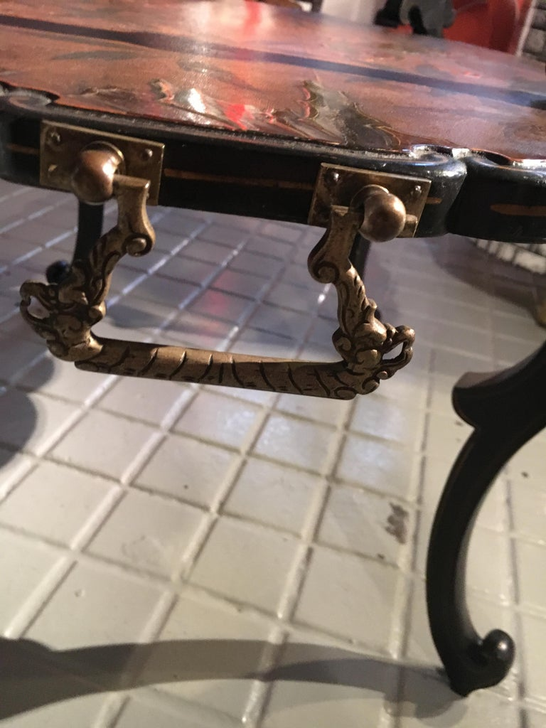 French Lacquered Two-Tier Table, circa 1880 For Sale 4