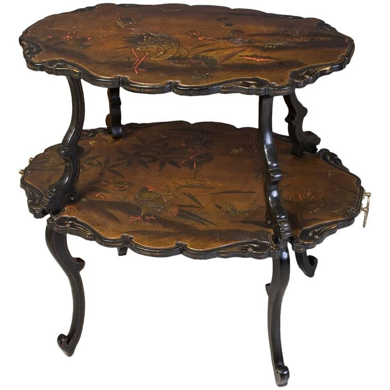 French Lacquered Two-Tier Table, circa 1880 For Sale