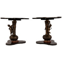 French Lacqure End Tables with Statues on Vases
