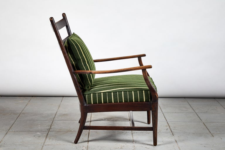 French Ladder Back Armchair Upholstered in African Fabric In Good Condition In Los Angeles, CA