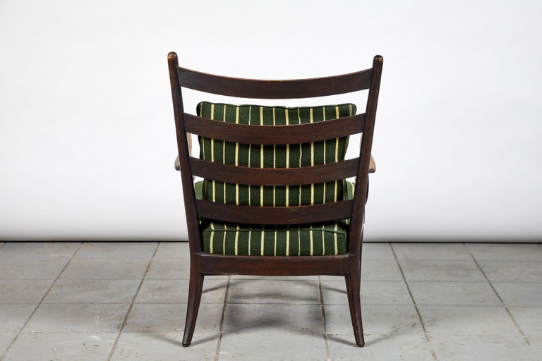 20th Century French Ladder Back Armchair Upholstered in African Fabric