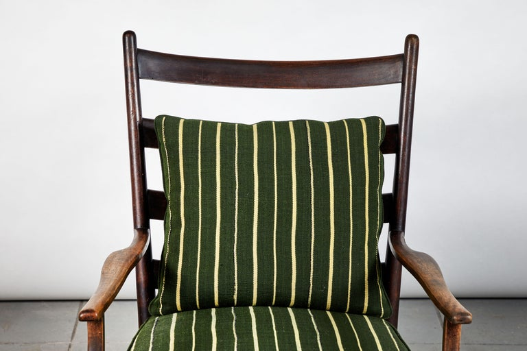 Wood French Ladder Back Armchair Upholstered in African Fabric