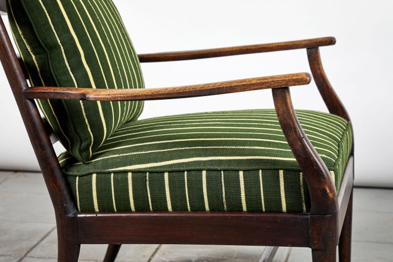French Ladder Back Armchair Upholstered in African Fabric 1