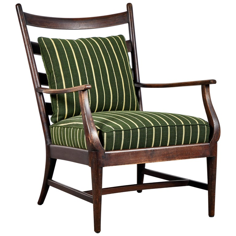 French Ladder Back Armchair Upholstered in African Fabric