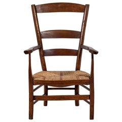 French Ladder Back Armchair with striped Rush Seat