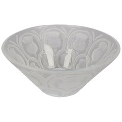 French Lalique Frosted & Clear Crystal Blooming Thistle Center Bowl 20th Century
