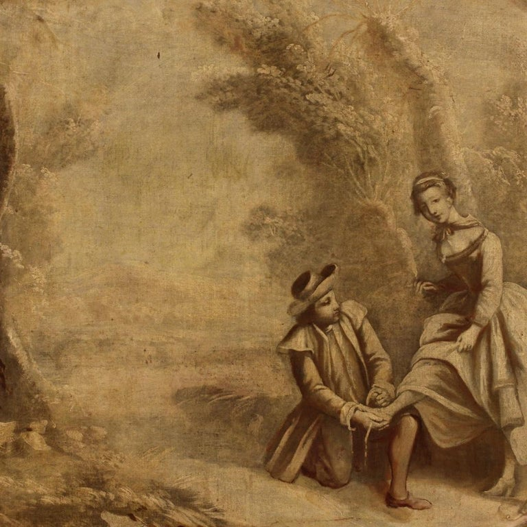 Gilt French Landscape Painting with Romantic Scene Oil on Canvas from 19th Century For Sale
