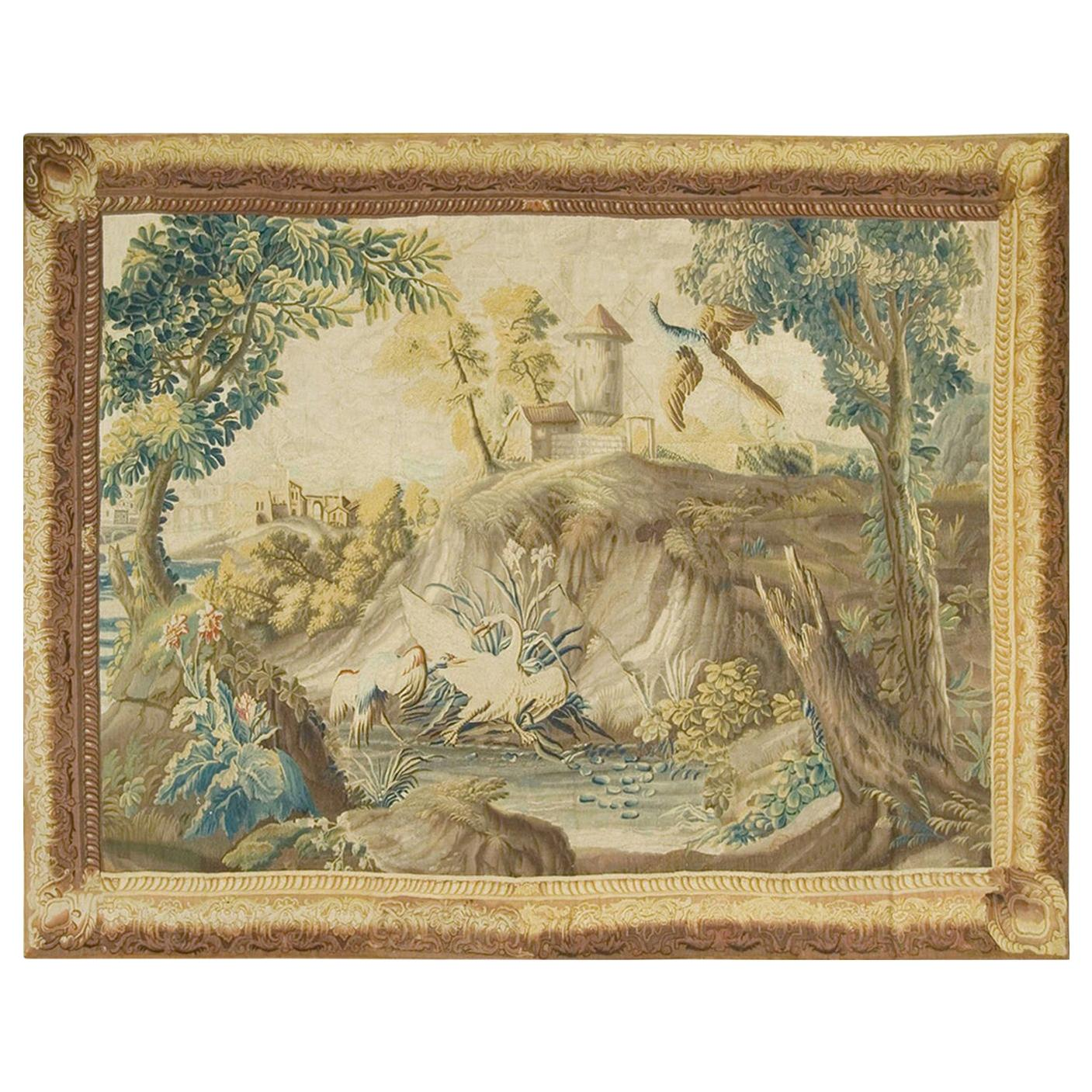 French Landscape Tapestry Probably Beauvais, circa 1750  7'3 x 9'3