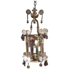 French Lantern Four-Light Adorned with Clear and Amethyst Crystals, 19th Century