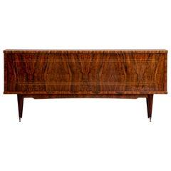 French Large Art Deco Sideboard Burr Walnut, 1940s