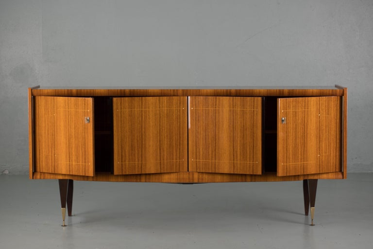 French Large Art Deco Sideboard Macassar, 1940s In Good Condition For Sale In Gemmerich, DE