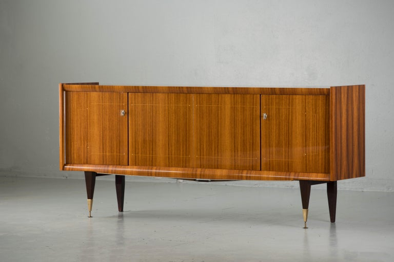 French Large Art Deco Sideboard Macassar, 1940s For Sale 2