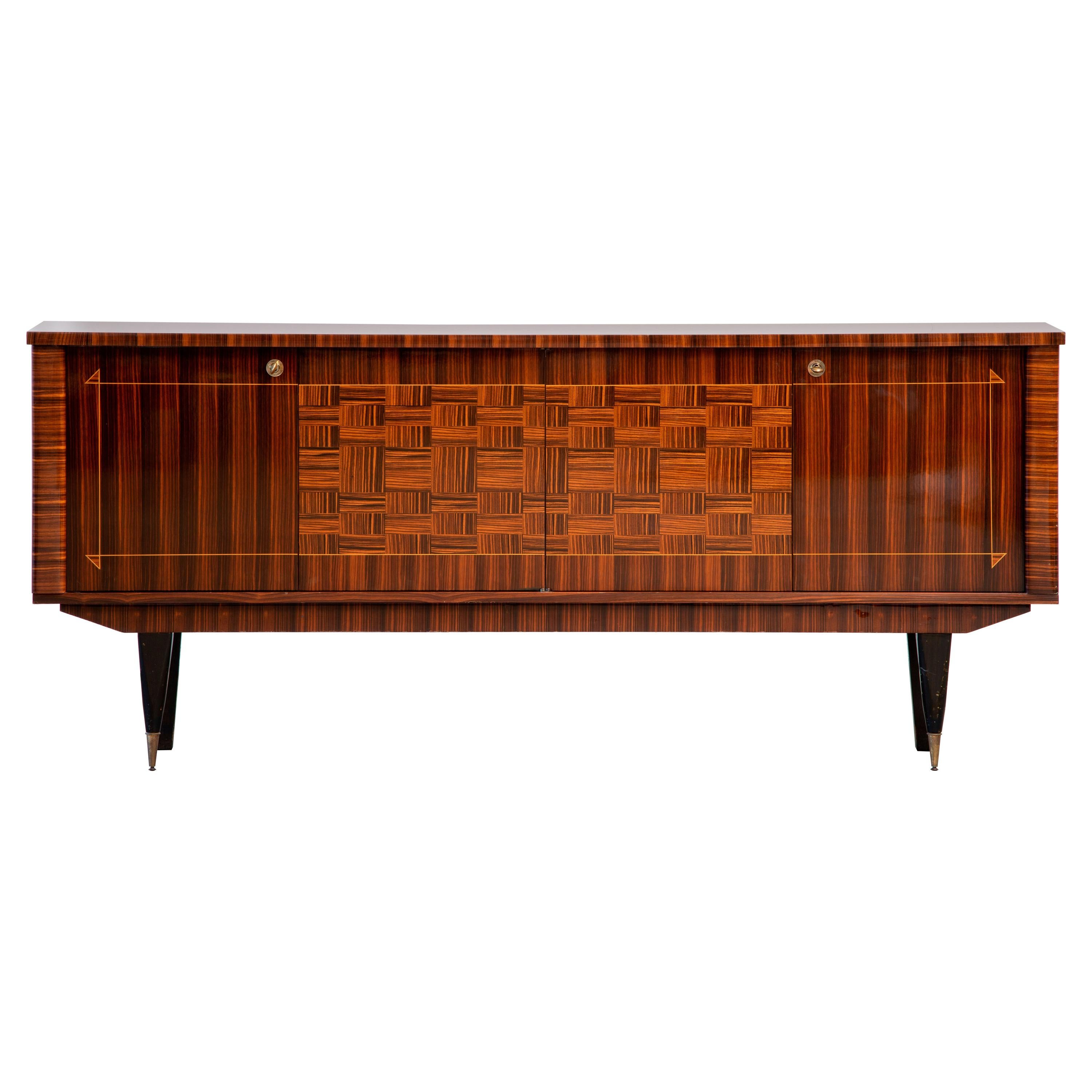French Large Art Deco Sideboard Macassar, 1940s