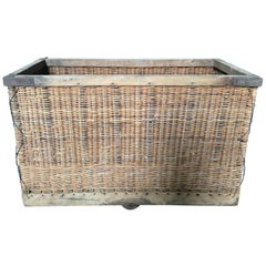 French Large Boulangerie Industrial Woven Cart Basket on Wheels