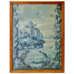 French Large Camaïeu Bleu Grisaille Painting