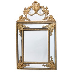 French Large Cast Bronze Louis XIV Style Crested Mirror, circa 1850