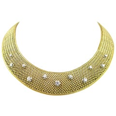 French Large Diamonds Woven Yellow Gold Platinum Collar Necklace