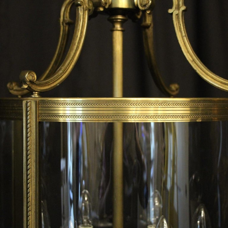 20th Century French Large Gilded Bronze 6-Light Convex Antique Lantern For Sale