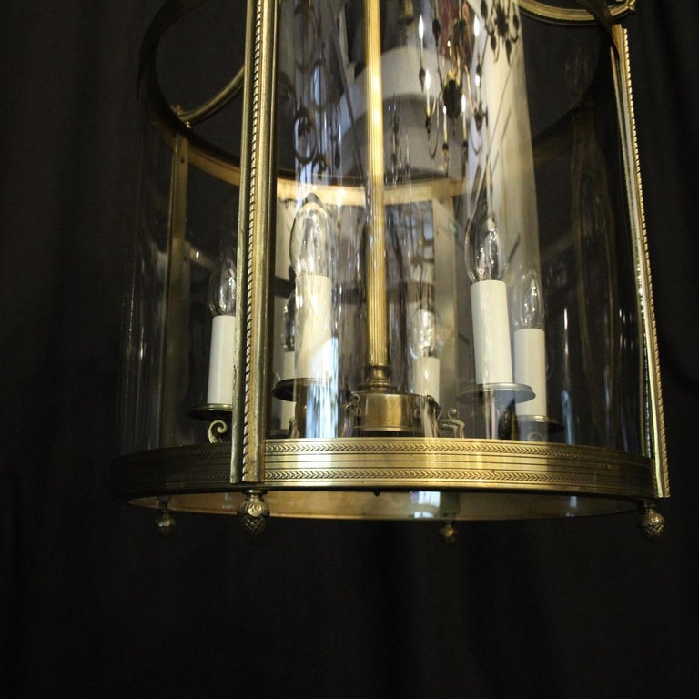 French Large Gilded Bronze 6-Light Convex Antique Lantern For Sale 4