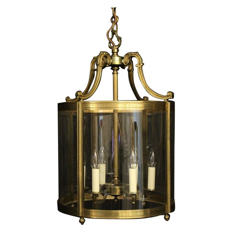French Large Gilded Bronze 6-Light Convex Antique Lantern For Sale