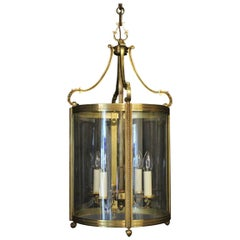 French Large Gilded Bronze Convex Antique Hall Lantern