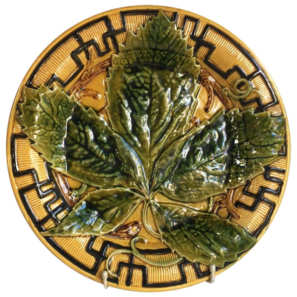 French Large Majolica Chesnut Leaf Platter, circa 1880