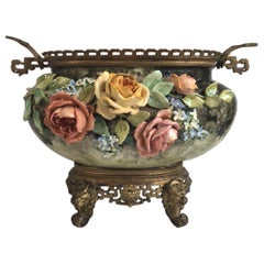 French Large Majolica Jardinière with Roses and BronzeEdouard Gilles, circa 1880