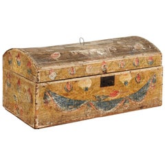 French Large Painted Brides Box, Late 18th Centry