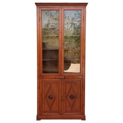French Large Pine Cupboard or Bookcase with Glass Vitrine, 19th Century
