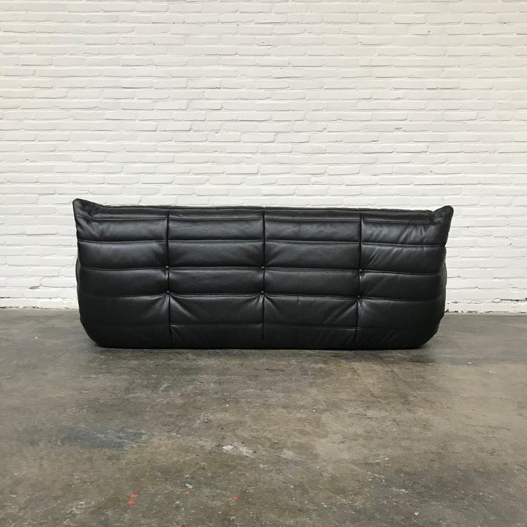 French Large Togo Sofa in Black Leather by Michel Ducaroy for Ligne Roset For Sale 1