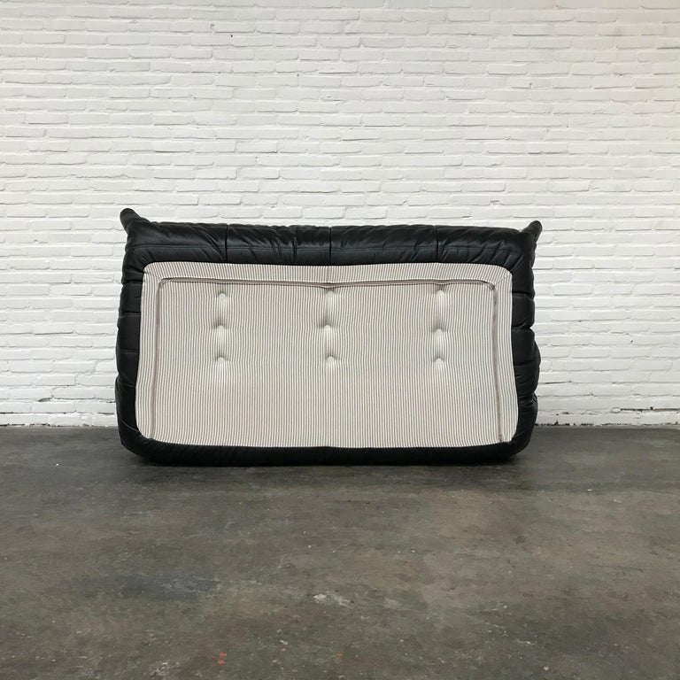French Large Togo Sofa in Black Leather by Michel Ducaroy for Ligne Roset For Sale 2