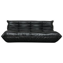 French Large Togo Sofa in Black Leather by Michel Ducaroy for Ligne Roset