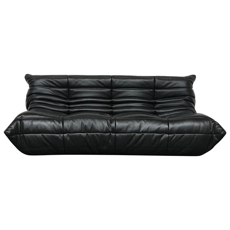French Large Togo Sofa in Black Leather by Michel Ducaroy for Ligne Roset For Sale