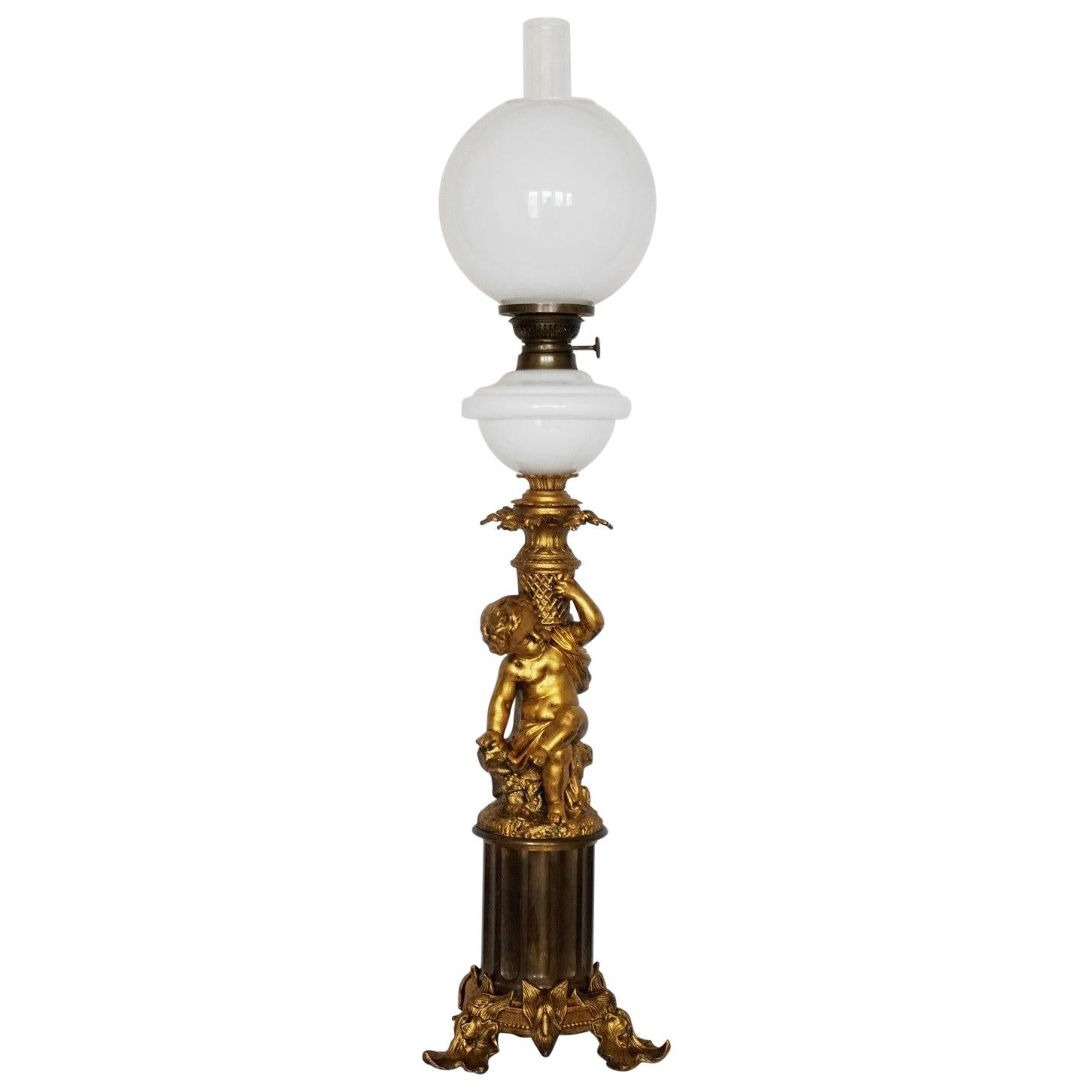 French Large Victorian Gilt Bronze Blown Glass Library Oil Lamp, Electrified