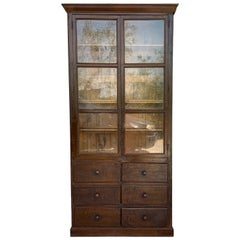 French Large Walnut Cupboard or Bookcase with Glass Vitrine, 19th Century