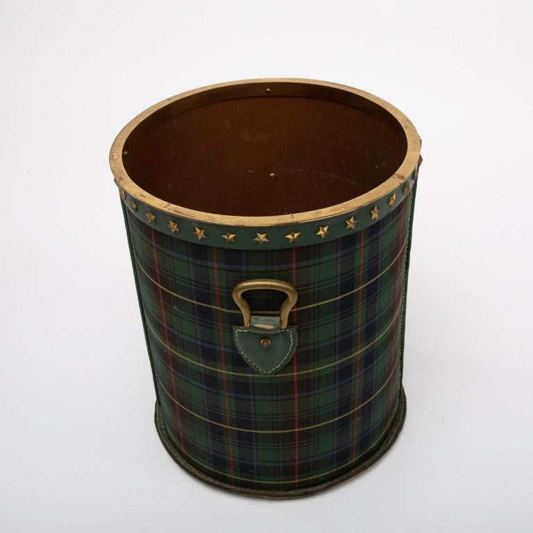 Mid-Century Modern French Large Waste Paper Basket, Tartan Fabric, Leather with Bronze Accents For Sale