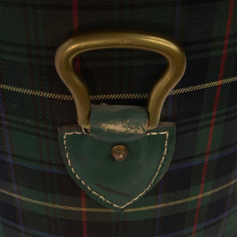 French Large Waste Paper Basket, Tartan Fabric, Leather with Bronze Accents In Good Condition For Sale In Brussels, BE