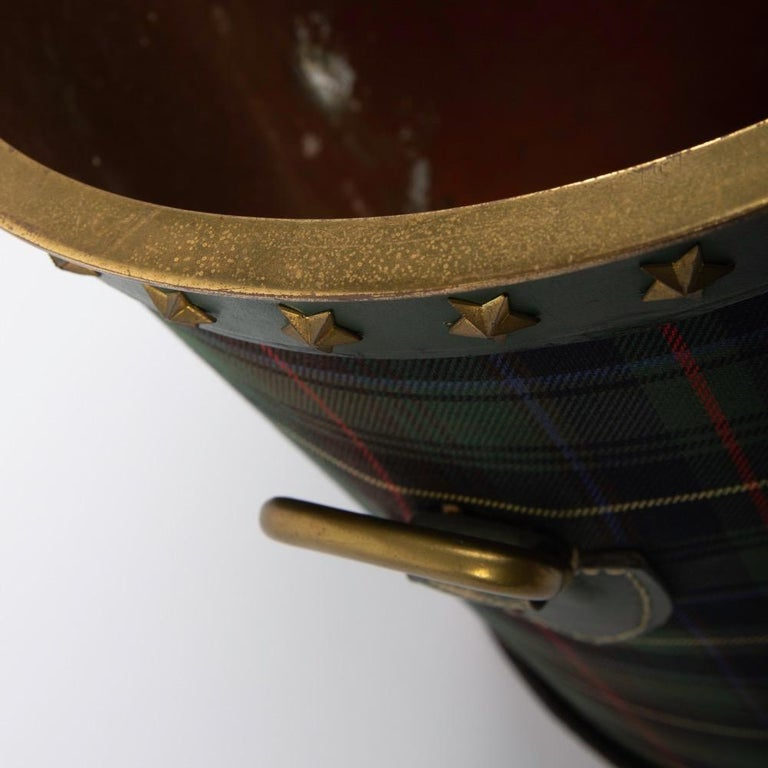 Mid-20th Century French Large Waste Paper Basket, Tartan Fabric, Leather with Bronze Accents For Sale